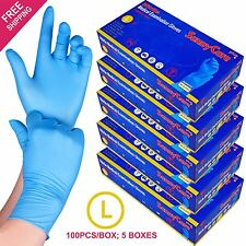 500 /5boxes Blue Nitrile Medical Exam Gloves Powder Free (Non Vinyl Latex) --L