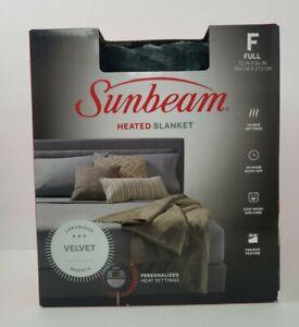 Sunbeam Twin Sized Heated Blanket - Velvet - Slate Gray 72 in x 84 in New In Box