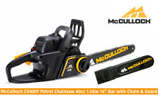 """McCulloch CS400T Petrol Chainsaw 40cc 2 Stroke Engine 16"""" Bar with Chain & Cover"""