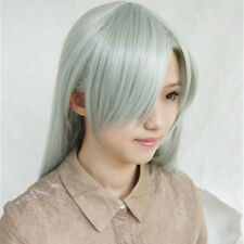 The Seven Deadly Sins Elizabeth Liones 80cm Long Gray Cyan Cosplay Hair Wig S024