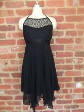 STELLINI MELBOURNE DESIGNER DRESS LADIES SIZE 10 12 PURE SILK BLACK STUNNING