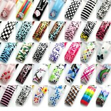 Random Color 70 Pcs Airbrushed Predesign French False Acrylic Gel Nail Art Tips