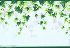 Green Metallic Silver Ivy Leaf Vine on Light Blue Country Wall paper Border Roll