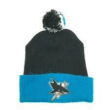 VINTAGE NHL San Jose Sharks Beanie Hat Puff Ball Cap One Size Black Blue Knit