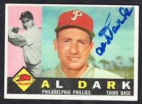 Al Dark #472 signed autograph auto 1960 Topps Baseball Trading Card