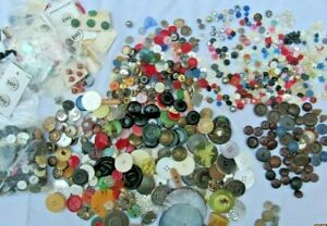 8 lbs 1920s-40s Vintage Button Lot: Glass Leather Shell Wood Rhinestone Plastic.