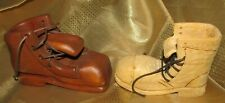 Vintage- Lot Of 2 - Wooden Hand Carved Hobo Boots/Shoes -With Laces -Euc
