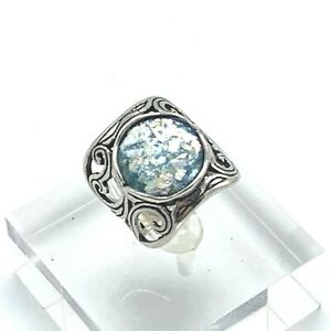 Israel Ancient Roman Glass Sterling Silver Scrolled Ring Size 6.5