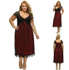 Sz 16 18 Red Skater Lace Cap Sleeve Formal Gown Cocktail Party Sexy Chic Dress