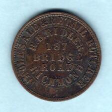 Australia Token.  Ridler 1862 1d.   Melbourne, Vic -  Arms Reverse..  aVF/F+