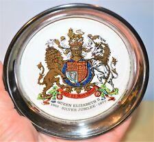 Queen Elizabeth II Vintage Silver Jubilee Drink Coaster Silver Plate & Porcelain
