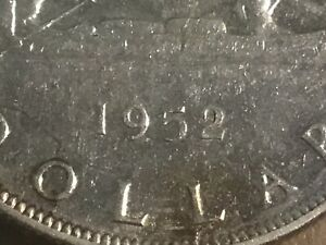 1952 WL CANADA 80% PURE SILVER DOLLAR Double HP $1 coin FREE SHIPPING****LOCAL**