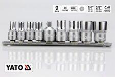 """TORX Steckschlüsselsatz 9 teilig 1/4"""" 3/8"""" Zoll Nüsse Außen Torxschlüssel PROFI"""