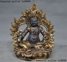Tibet lapis lazuli Inlay bronze gem Yellow jambhala God of wealth Buddha statue