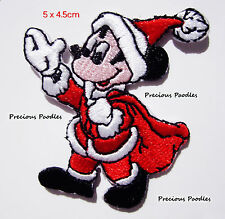 Christmas Mickey Mouse Patch 5x4.5cm EMBROIDERED IRON ON PATCH APPLIQUE Gorgeous