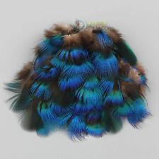 """50pcs Plumes de plumage de faisan bleu paon 1""""-3"""" pour décorations artisanales"""