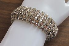 GLAM VINTAGE wide rhinestone link bracelet costume jewelry safety chain VGUC