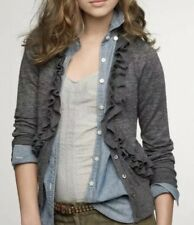 J. Crew Women Gray Merino Wool Traversa Cardigan Sweater Ruffle Sz M Runs Small