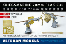 VETERAN 1/350 VTW-35053 GERMAN KRIEGSMARINE 20mm FLAK C30