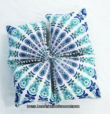 Indian Antique Style Art Blue Color Peacock Pattern Set Of 4 PCs Cushion Cover