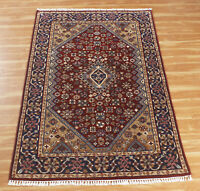 Oriental Hand Knotted Wool Area Rug Red 'Gyapriya' Indian Handmade 4x6 ft Carpet