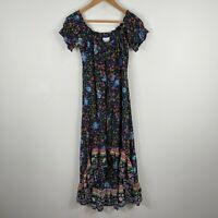 Tequila Sunrise Womens Dress 10 Multicoloured Floral Short Sleeve High Low