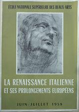 ANCIENNE AFFICHE 1956 LA RENAISSANCE ITALIENNE ECOLE NATIONALE DES BEAUX ARTS