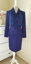 KASPER for A.S.L. Womens 2 pc.Skirt Suit with Scarf Royal Blue Poly Acetate Sz.4