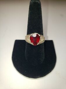 Mens Sterling Ring With Red Ruby