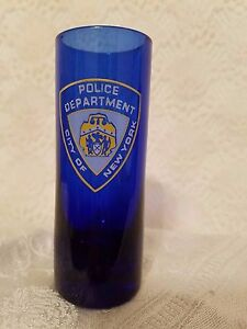 Tall Shot Glass Cobalt Blue City of New York Police Department