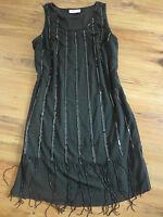 Sheego Chiffon Eventkleid Abendkleid Kleid Gr. 42 - 58 Schwarz Pailletten (068)