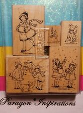 Stampin Up WINTER IS CALLING Christmas Children Snowman Missing 2 Stamps