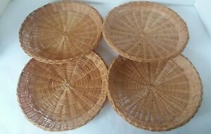 """Set of 4 Brown Wicker Bamboo Paper Plate Picnic Plate Holders 9 1/2"""" Diam"""