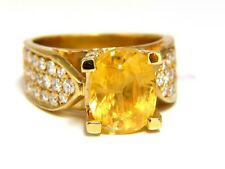 7.06ct Natural yellow sapphire ring 18kt. Raised Bead Set