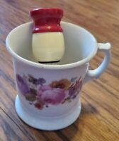 Vintage Germany Floral Roses Gold Accent Shaving Mug W/ Brush