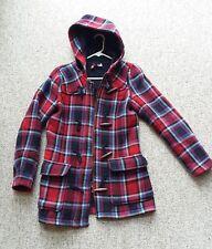 Womens Red Plaid Tartan Hooded Heavy Winter Coat Barn Cottage Jacket Size 10