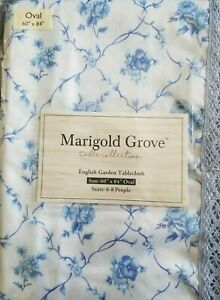 60 x 84 oval Tablecloth blue rose English garden with lace edge