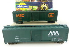 2 Athearn/Bev-Bel HO 50' SD Boxcars: 1765 MC, D.Green/109 Vermont RW ~Built~ T17