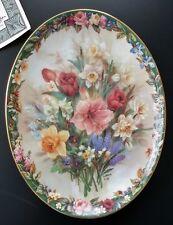 Lena Liu Floral Cameos Enchantment oval Plate #2 Bradford Exchange Flowers Coa