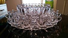 Antique 12 Cup Punch Bowl on Platter with Footed Cups. All Original