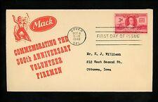 US FDC #971 Mack Trucks M-3 1948 Dover DE Volunteer Firemen Firefighting Fireman