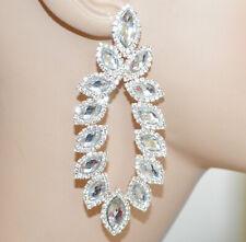 ORECCHINI ARGENTO donna strass cristalli pendenti lunghi sposa matrimonio N20