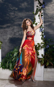 Panoply 14508 Tropical Orange Cruise Formal Gown Dress SALE sz 8