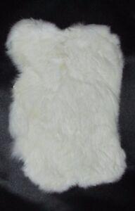 Rabbit Pelt - Genuine Leather Fur - White Color