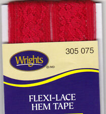 WRIGHTS FLAME (075) FLEXI-LACE HEM TAPE-3 YDS-REPAIR, CLOTHING, SEWING