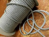 """VINTAGE FRENCH 3/16"""" Twisted METALLIC GOLD or SILVER Rope Cord Trim 1yd"""