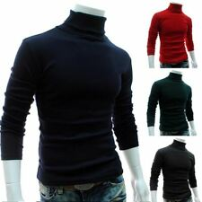 1 Pc Men Autumn Solid Color Turtle Necks Long Sleeve Sweater Slim Knitted Pullov