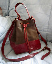 FURLA BUCKET BAG PURSE HAND-CROSSBODY CONVERTIBLE - BROWN LEATEHR / OLIVE SUEDE