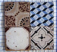 quattro riggiole piastrelle mattonelle maioliche antiche in cotto 20x20 lotto186