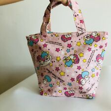 Little twin stars pink canvas handbag zip lunch box bag storage tote recycle bag
